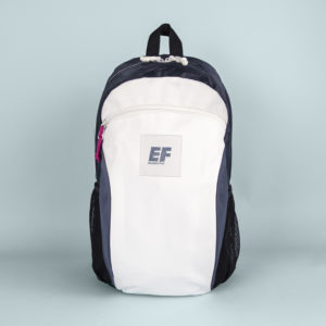 Image of EF Tours white, navy and black backpack